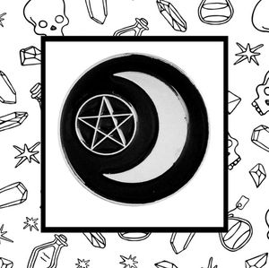 Pentacle & Crescent Moon Lapel Pin Witch Wicca